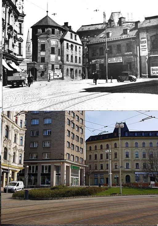 Srovnávací fotografie: Soukenné náměstí kolem roku 1927 a v roce 2021.
