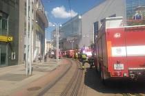 V centru Liberce hoří výšková budova Databoxu v Jánské ulici.