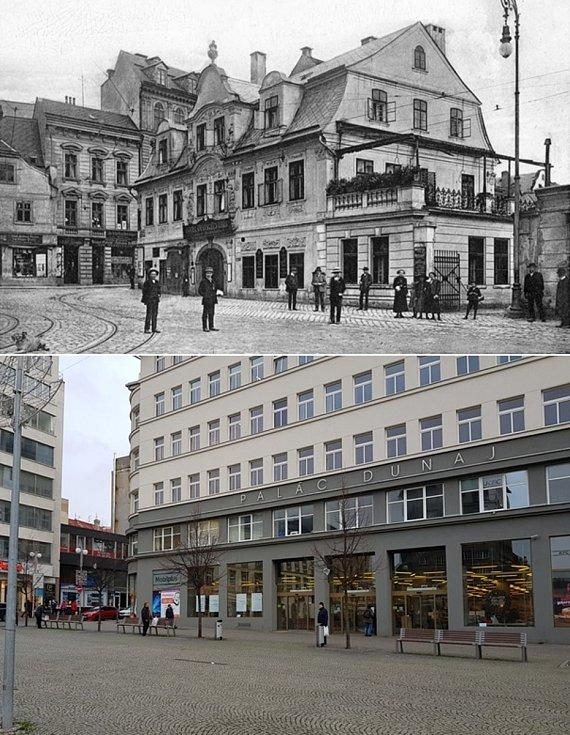 Srovnávací fotografie: Soukenné náměstí kolem roku 1920 a v roce 2020.