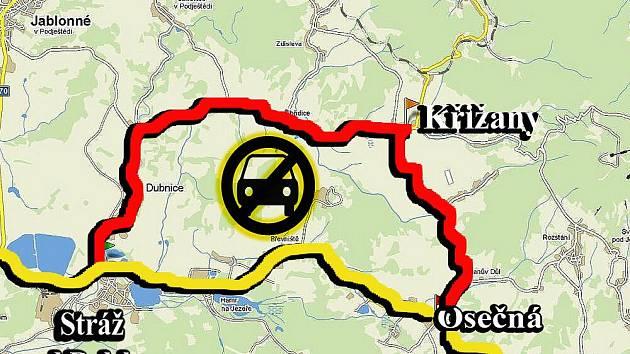 Cestu z Liberce do Stráže pod Ralskem lze teď doporučit jen těm, kteří rádi a dlouze jezdí autem.