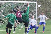 Fotbalové utkání I. B třídy Žibřidice - Dubá 2:4. Žibřidice v zelených dresech