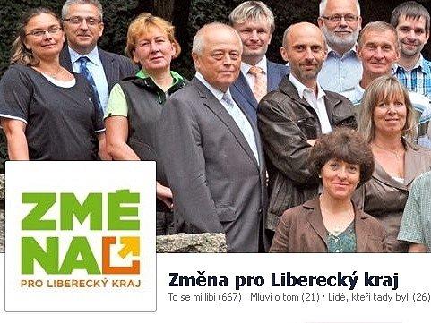 Hackeři napadli facebookové stránky Změny pro Liberecký kraj. Na snímku screen stránky na Facebooku.