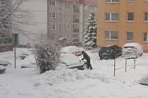 Husté sněžení ve Vratislavicích nad Nisou.