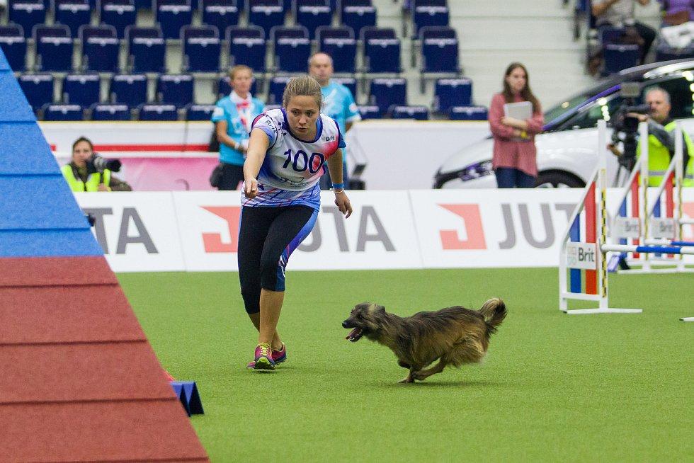 Poslední den Mistrovství světa v agility proběhl 8. října v Home Credit areně v Liberci. Na snímku je Kateřina Malačková se psem Izzy při disciplíně agility jednotlivců se středně velkými psy.