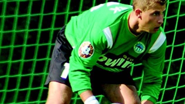 LETOS V PŘÍPRAVÉ. Petr Bolek chytal za Liberec v přípravě proti Dynamu Drážďany, které Slovan porazil 3:1