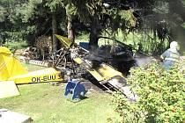 Pád a následný požár ultralightu u Nové Pece.