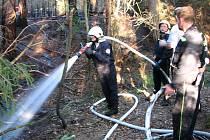 Jeden z ohňů řádil také u rybníka v Cepu na Suchdolsku, kde hořela jak suchá tráva, tak i lesní hrabanka. Plameny zasáhly plochu 30x40 metrů.