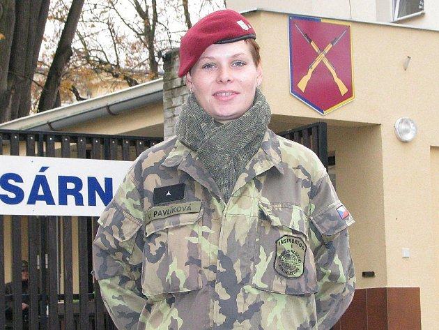 Veronika Pavlíková slouží už přes rok  44. lehkého motorizovaného praporu v Jindřichově  Hradci.