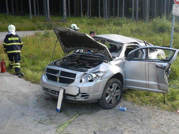 Nehoda se zraněním u Vyššího Brodu.