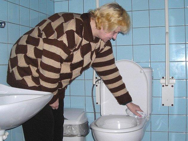 Pracovnice společnosti Mihos Jiřina Staňková (na snímku) uklízí toaletu pro vozíčkáře.