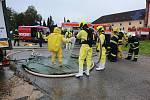 Zásah hasičů u unikajícího čpavku v třeboňském pivovaru Regent.