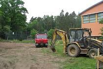 Staveniště pro budoucí školku v Suchdole nad Lužnicí.
