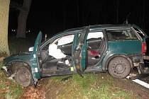 Auto u Majdaleny narazilo do dvou stromů.
