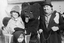 Nedílnou součástí břilických masopustních průvodů bývá medvědář a jeho zvíře.