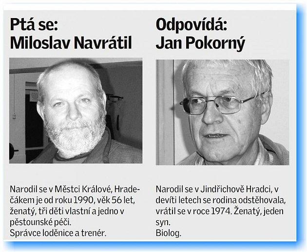 Správce jindřichohradecké loděnice a trenér Miloslav Navrátil své otázky biologovi, doktoru Janu Pokornému.