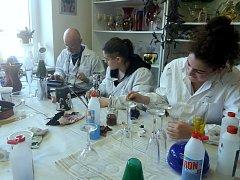 V třeboňské Obchodní akademii, střední odborné škole a středním odborném učilišti se italští studenti učí pracovat se sklem.