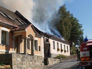 Požár domu v Kunžaku