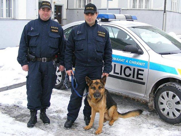 Služební pes Devil při středeční pátrací akci po mladistvé  z Třeboně označil křoví, kde psovodi Petr Lukačovič (vlevo) a Václav Homolka pořezanou dívku, která se pokusila spáchat sebevraždu, pak našli.  Okamžitě jí poskytli první pomoc.