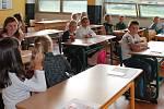 První školní den ve 4. základní škole v Jindřichově Hradci.