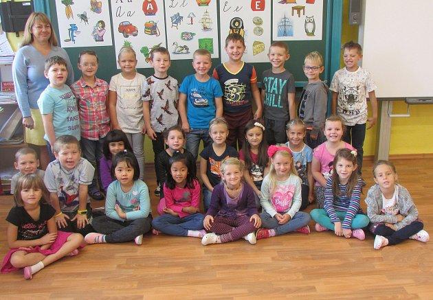 Žáci zprvního ročníku ze základní školy vLomnici nad Lužnicí.