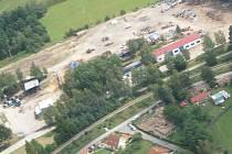 Letecký snímek pozemků firmy Čech odpady v Lomech u Kunžaku.