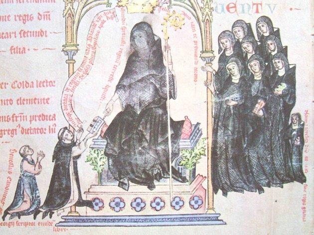 PASIONÁL abatyše Kunhuty. Sedící postava je sama abatyše, malá postava úplně vpravo je její dcera Perchta.