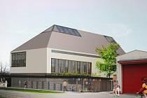 Snímek ukazuje moderní řešení radnice z dílny architekta Petera Sticzay–Gromskiho.