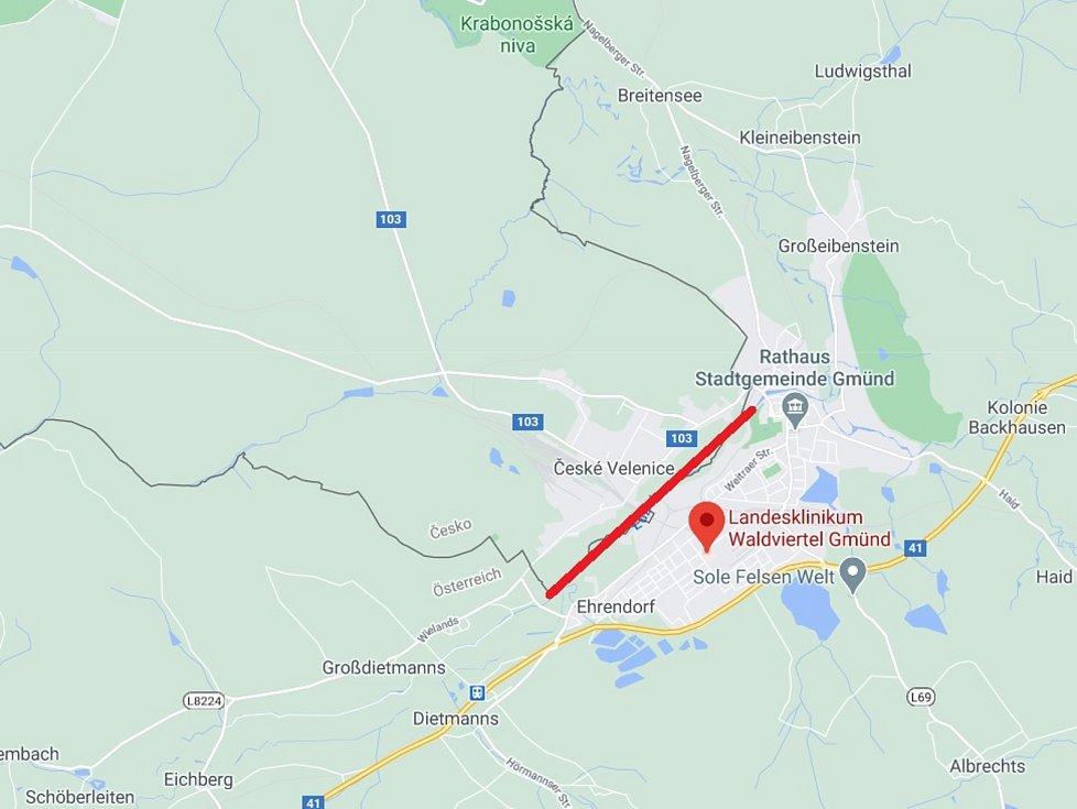 Mapa s vyznačením hranic Ilustrační foto.