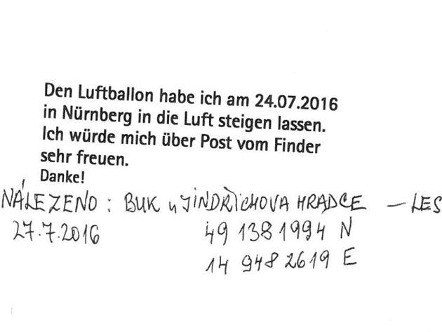 BALÓNKY S PŘÁNÍM. V Norimberku obyvatelé domova seniorů napsali přání a vypustili je s balónky. Jedno z nich bylo nalezeno v Buku u Jindřichova Hradce. Nálezce ho poslal zpět  s údaji o místě nálezu a poslal zpět Charlottě Balling.