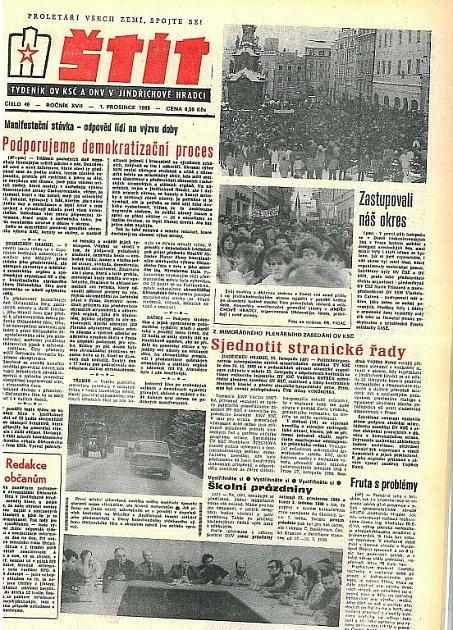 Štít z1. prosince 1989 - strana 1.