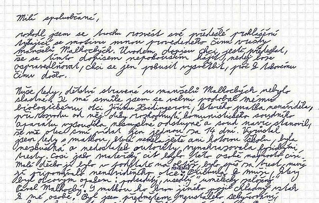 Začátek dopisu Jana Heidingera, který Deníku poskytl server idnes.cz. Snaží se vněm objasnit motiv svého únorového vražedného útoku na manžele Janu a Pavla Malhockých.