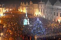Novoroční ohňostroj 2015 v Třeboni.