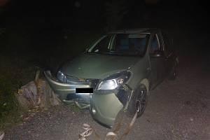 Osmdesátiletý řidič narazil s vozidlem do pařezu a nepřežil