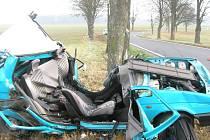 Pohled na zcela zdemolovanou škodovku, ve které u Dačic zemřel osmnáctiletý řidič.