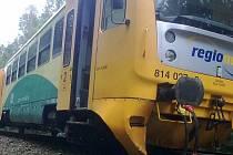 U Třeboně ve směru na Majdalenu vykolejil po nárazu do spadlého stromu vlak.