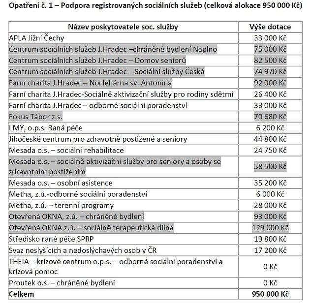 Podpora registrovaných sociálních služeb - město rozděluje 950tisíc. Šedivé částky ještě musí posvětit zastupitelé.