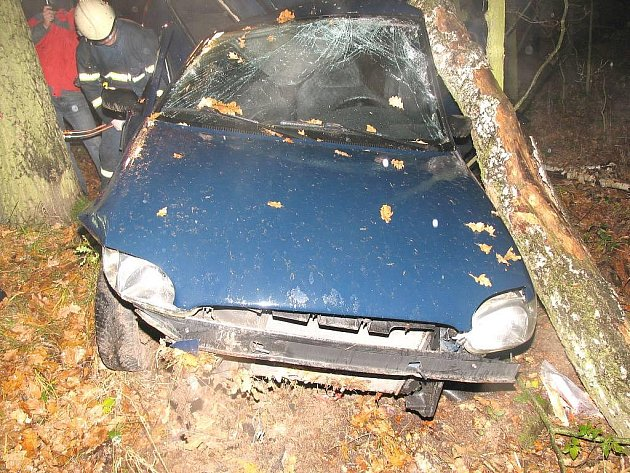 Pohled na zdemolované auto u Lásenice, ve kterém po nárazu do stromu zemřel spolujezdec na zadním sedadle.