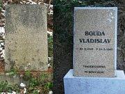 Pomník padlému občanovi v Hříšicích před a po renovaci.