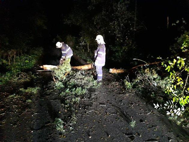 Dobrovolní hasiči z Kardašovy Řečice odstraňovali spadlé stromy na silnici a také převezli do Jin