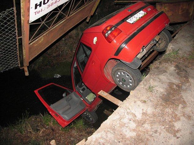 Opilý řidič na parkovišti před Staviservisem v J. Hradci nezvládl manévr a auto spadlo do potoka.