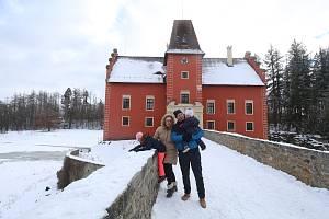 Rodina Vabrouškova,z Prahy,výlet na Červenou lhotu