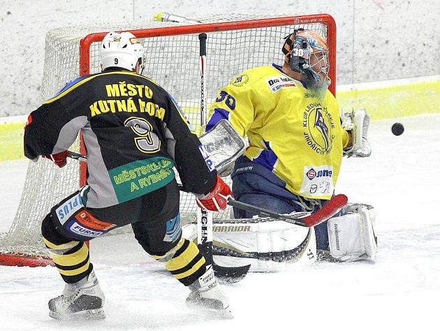 Brankář Vajgaru Tomáš Kubeš inkasoval od hokejistů Kutné Hory tři góly, ale jeho spoluhráči jich do sítě soupeře dokázali nastřílet sedm.