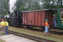 Parní vlak města.