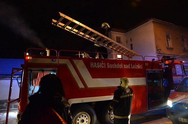 Požár stodoly v Českých Velenicích.