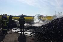 Požár v uhelných skladech Beránek.