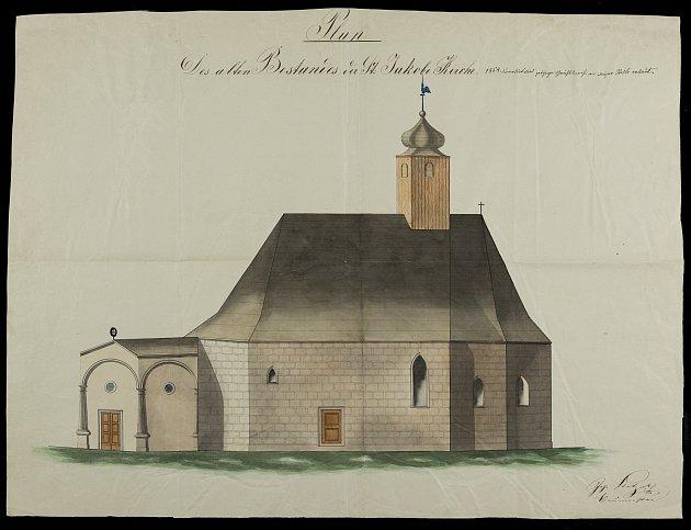 Kostel sv. Jakuba uJindřichova Hradce, historické snímky.