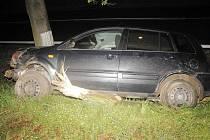 Pohled na zdemolované auto po srážce s divočákem a nárazu do stromu.