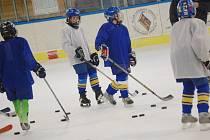 Hokejoví žáci Vajgaru při tréninku.