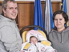 Ella Tovačovská, která se narodila 2. ledna Simoně Bénové a Antonínu Tovačovskému, dostala jako první letošní miminko Dačic od starosty Karla Macků zlatý přívěšek.
