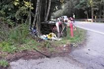 Tragický střet motocyklisty s osobním autem u Rodvínova.